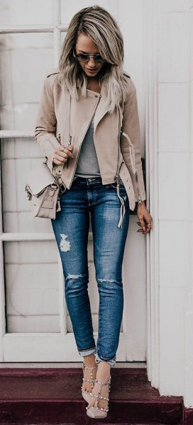 Light pink leather jacket ripped stretch jeans