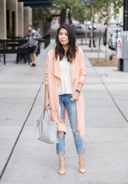 light pink long casual cardigan with white chiffon blouse