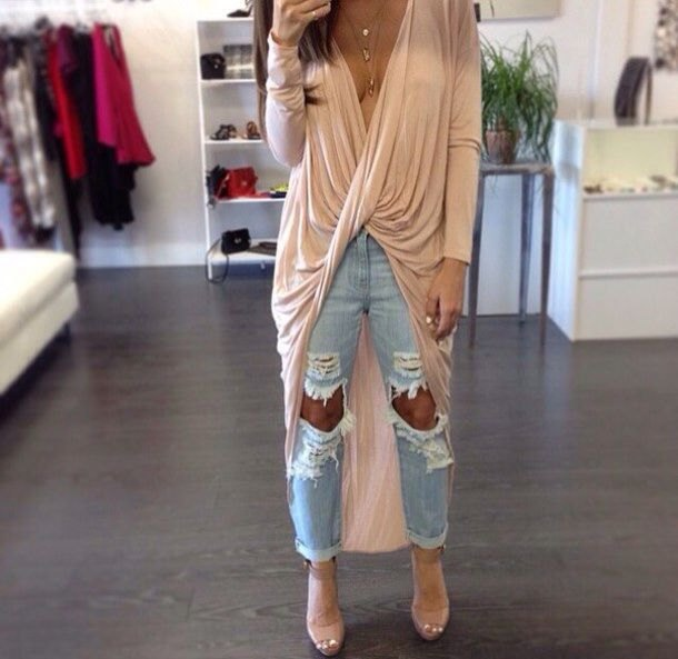 pale pink long sleeved draped high low maxi top