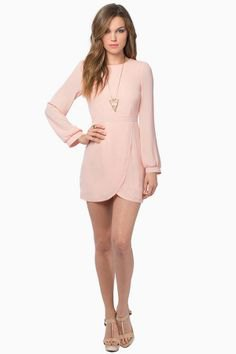 pale pink long-sleeved mini tulip dress