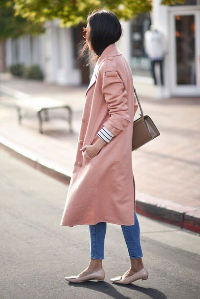 light pink long trench coat slippers of the same color