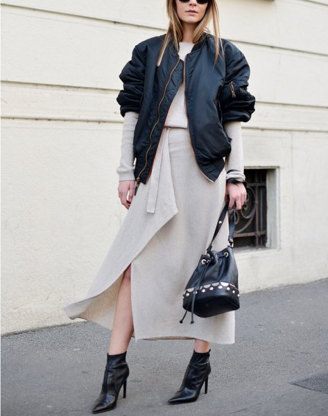 Light pink maxi wrap skirt with black casual jacket