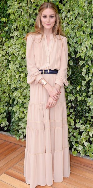 light pink pleated maxi dress with black leather belt