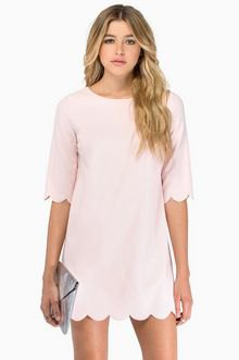 pale pink t-shirt dress with scalloped hem and sleeves