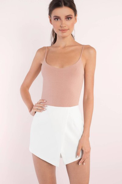 Light pink top with a scoop neckline and mini skirt