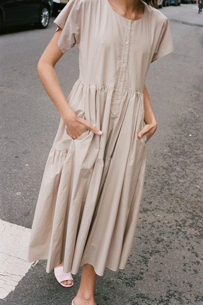 Light pink short-sleeved cotton maxi dress with white slip scandals