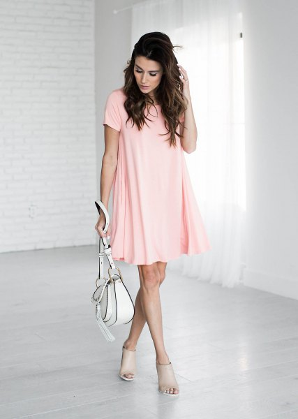 pale pink short sleeve mini swing shirt dress with short open toe boots