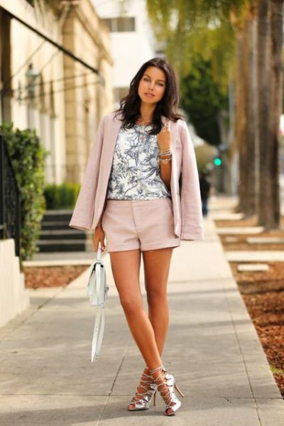 Light pink shorts with matching blazer and white printed top