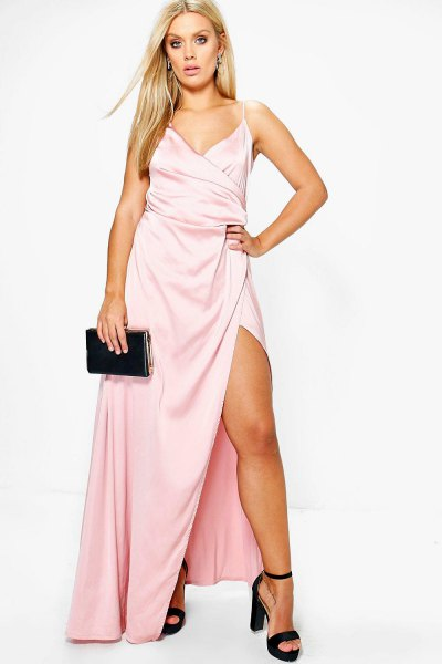 Light pink maxi dress with side slit wrap and black, open toe heels