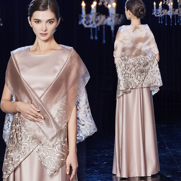 pale pink floor-length silk dress with evening scarf