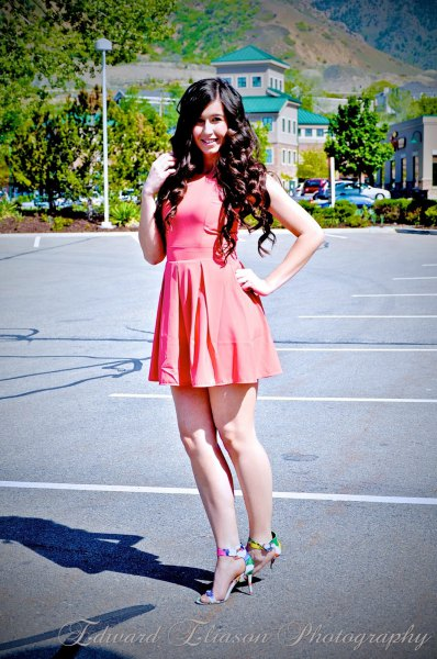 Light pink skater dress with colorful heels