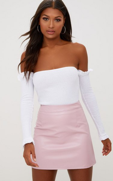 Light pink skirt with a white tube top and separate long sleeves