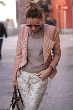 Light pink leather jacket with spikes and chiffon blouse