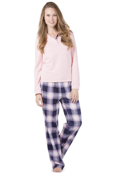 light pink sweater long sleeve t-shirt with black and white checked pants