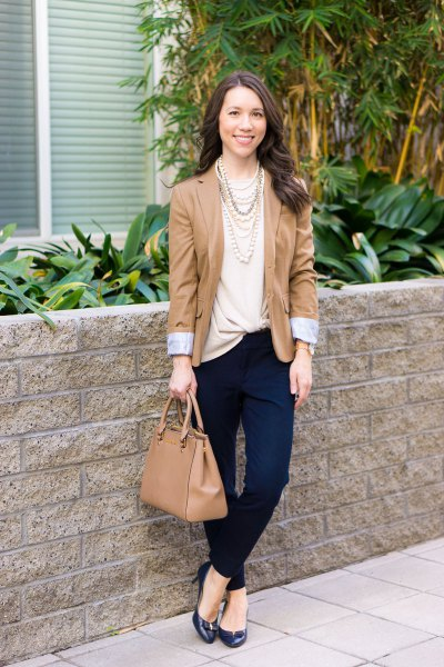 Light pink twist front top with a blushing blazer and chinos