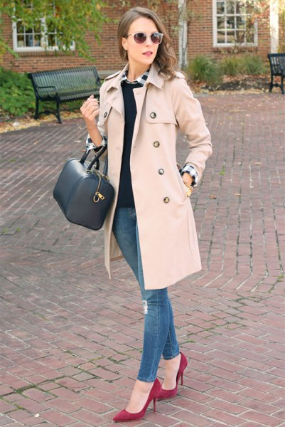 pale pink walker coat with white shirt and black sweater