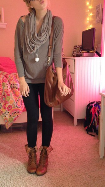 light pink wide neck leggings brown boots