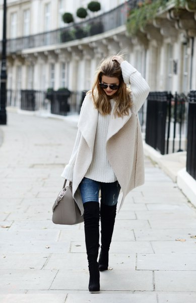 pale pink wool coat with black overknee boots
