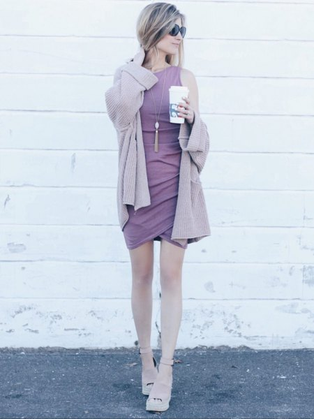 Light purple cardigan with matching sleeveless shift mini tulip dress