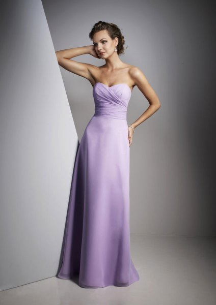 Light purple fit and flare strapless floor length ball gown