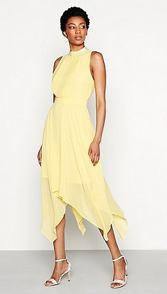 Light yellow mock neck fit and flared midi dress
