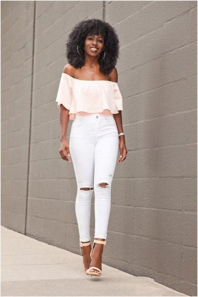 pale yellow off-the-shoulder blouse with white skinny jeans