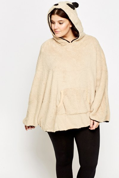 Panda Hood white fleece poncho black jeans