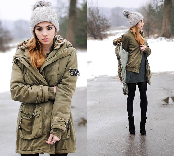 Parka jacket green bomber jacket