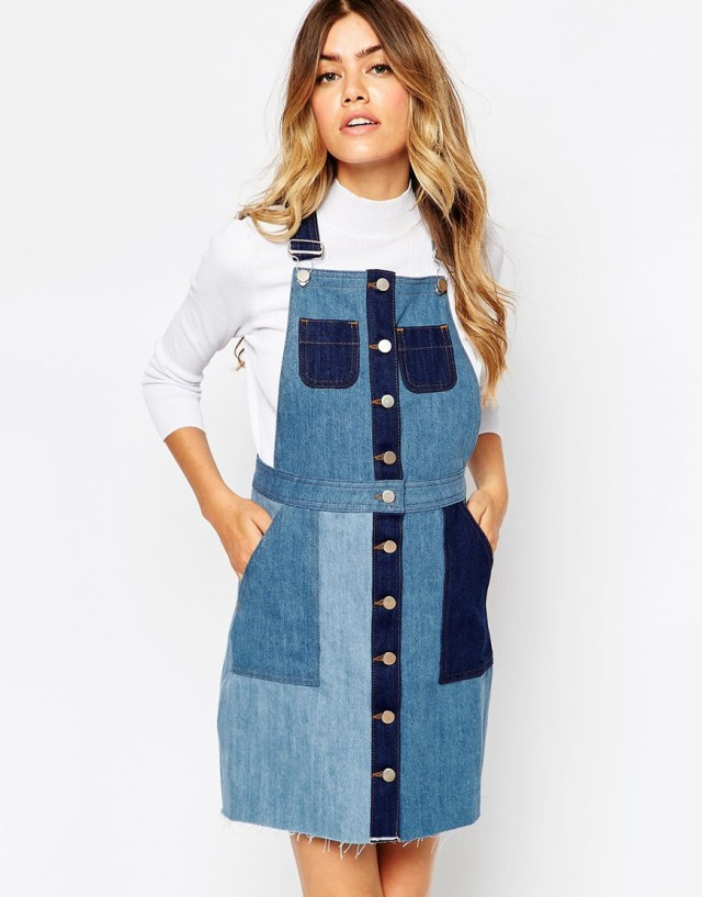 Patched denim overall skirt design