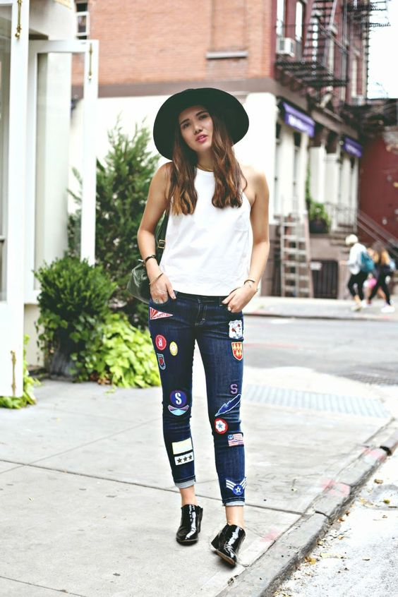 patched jeans fedora