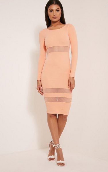 Peach Bodycon semi-transparent striped midi long dress