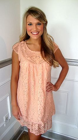 Mini shift dress with peach sleeves