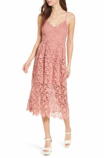 Peach deep V-neck midi lace sheath dress