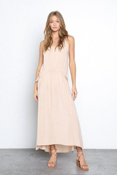 Peach Maxi Tank Shift Dress with Gladiator Sandals