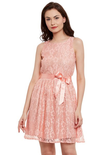 Peach Ribbon Bow Belt Mini Flared Tank Lace Dress