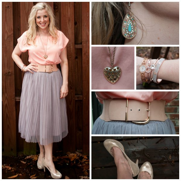 Peach short-sleeved shirt with light pink tulle midi skirt