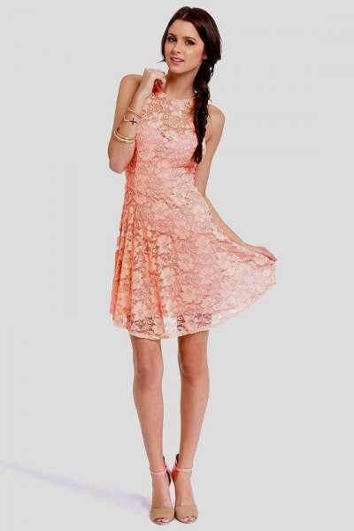 Peach sleeveless lace fit and flare mini dress with blushing pink heels