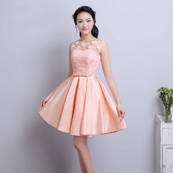 Peach two-tone fit and flared lace and knee length silk dress