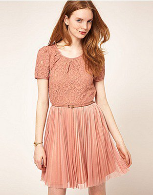 Peach two-tone short-sleeved lace and pleated mini hangover dress made of chiffon
