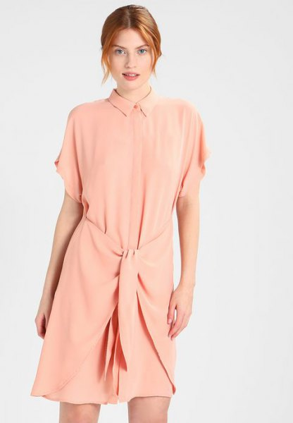Peach Wide Short Sleeve Tie Waist Shirt Dress