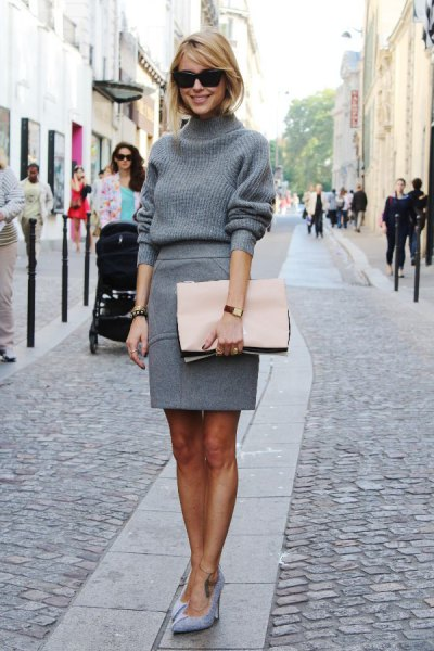 gray turtleneck with a pencil wool skirt