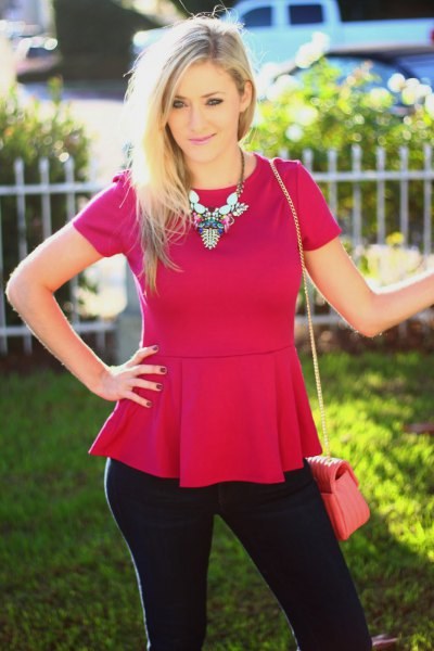 Peplum pink top with black skinny jeans