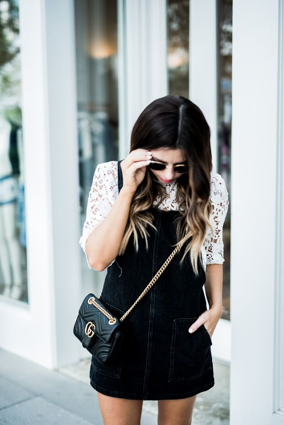 Pinafore dress black and white