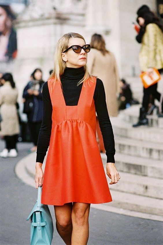Pinafore dress bright orange