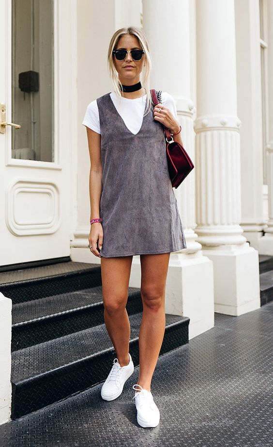Strap dress made of gray suede