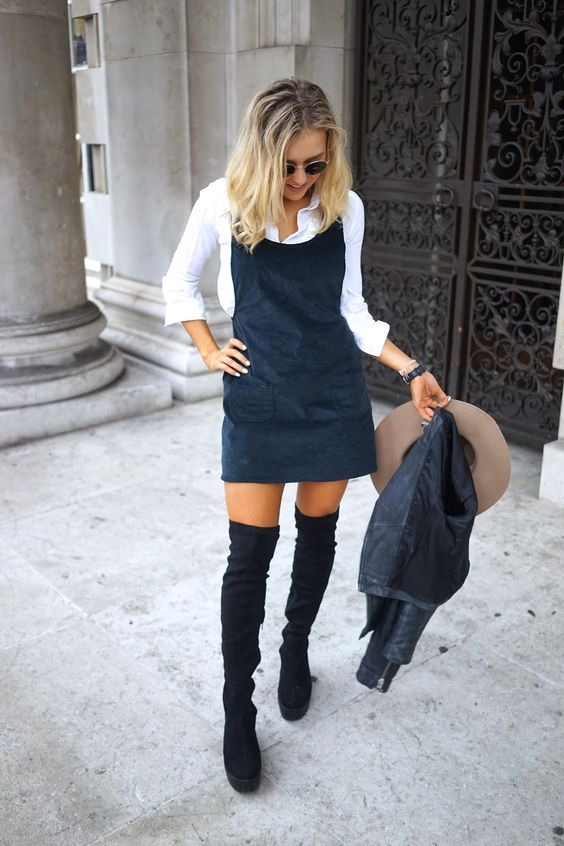 Navy blue strap dress