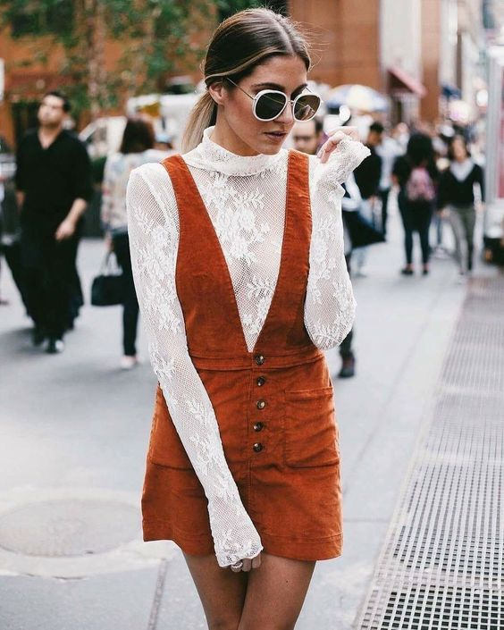 Orange corduroy strap dress