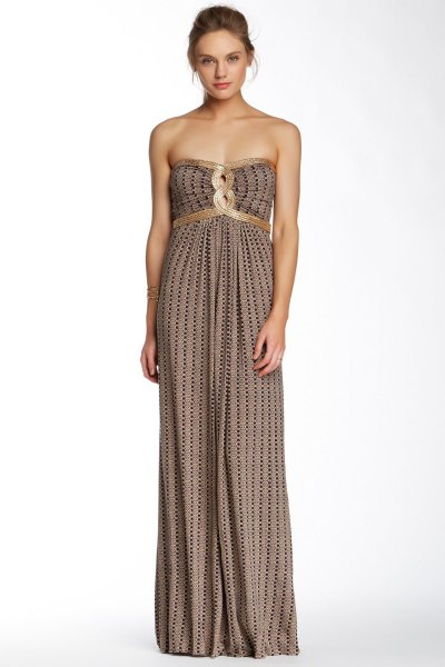 pink and black patterned ruched waist maxi strapless dress