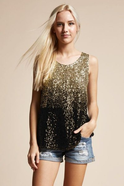 pink and black sequin tank top with blue denim shorts