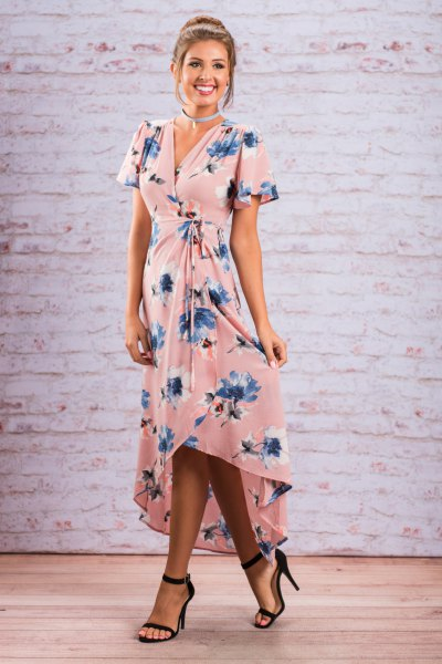 High-low maxi dress with pink and blue floral print